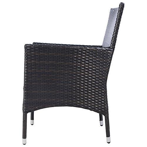 Tangkula 2 Armchair Rattan Single Set Outdoor Modern Rattan Set W/Cushions Brown