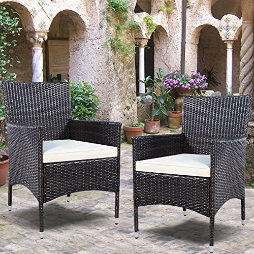 Tangkula 2 Pcs Armchair Chair Set Modern Rattan Furniture Sofa Set