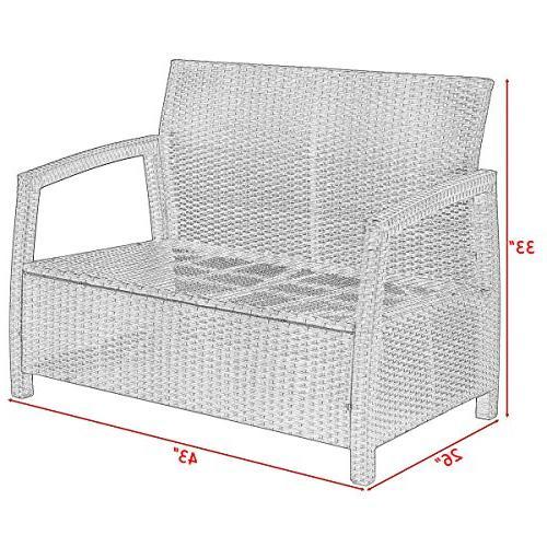 Tangkula Garden All Rattan Love Bench Chair Patio Cushions