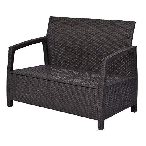 Tangkula Bench Outdoor Garden All Rattan Wicker Love Bench Chair Patio Cushions