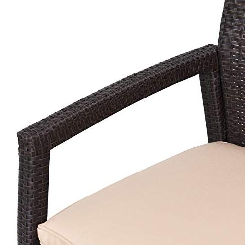 Tangkula Patio Garden Lawn All Rattan Wicker Love Seat Bench Couch Chair Cushions