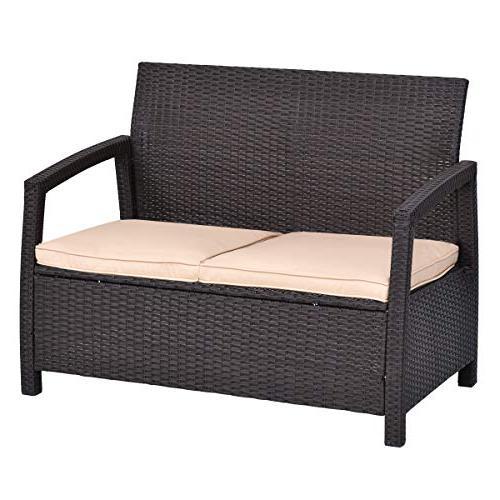 Tangkula Bench Garden Poolside Lawn All Rattan Wicker Love Seat Chair Patio Cushions