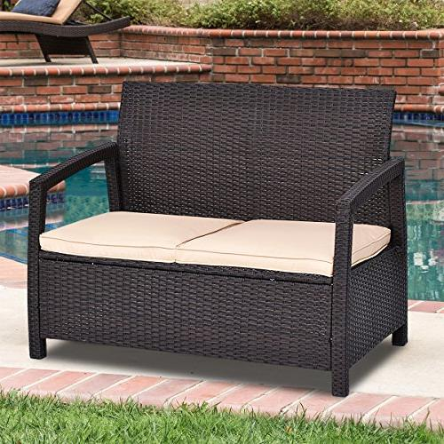 Tangkula Garden All Weather Love Seat Bench Couch Chair Patio