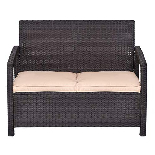 Tangkula Patio Bench Garden Poolside Lawn Porch All Weather Love Chair Patio Furniture,