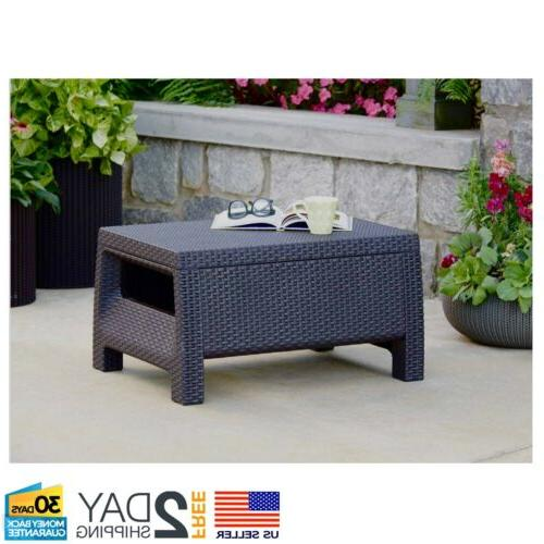 Patio Table Wicker Porch Deck Weatherproof Room
