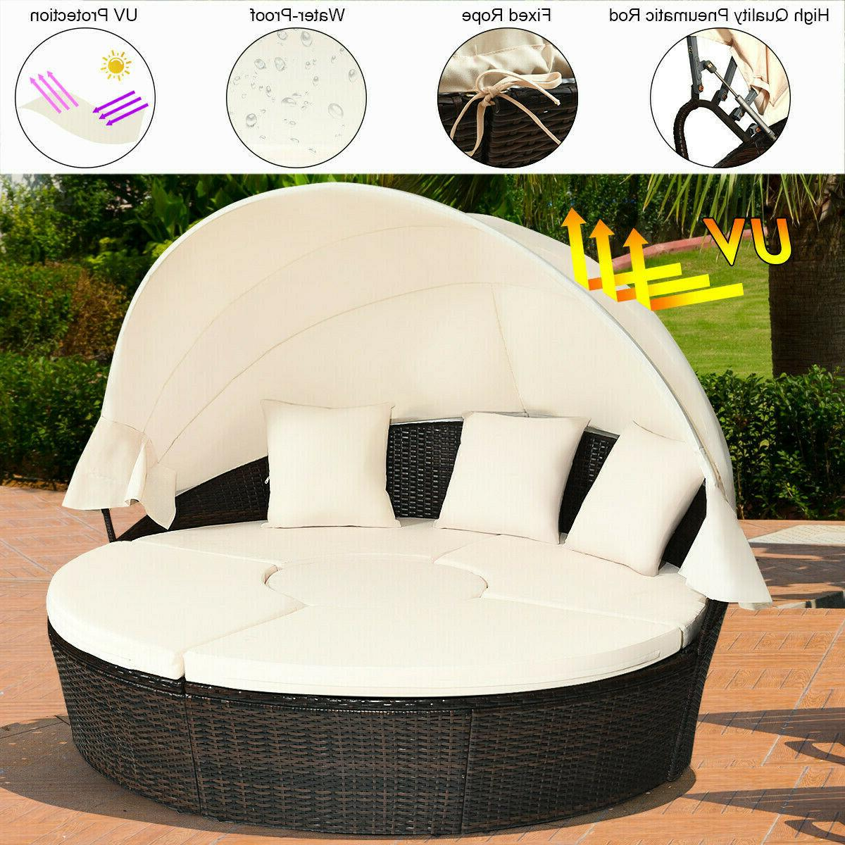 Patio Daybed Rattan Canopy Outdoor Furniture Cushioned Beige