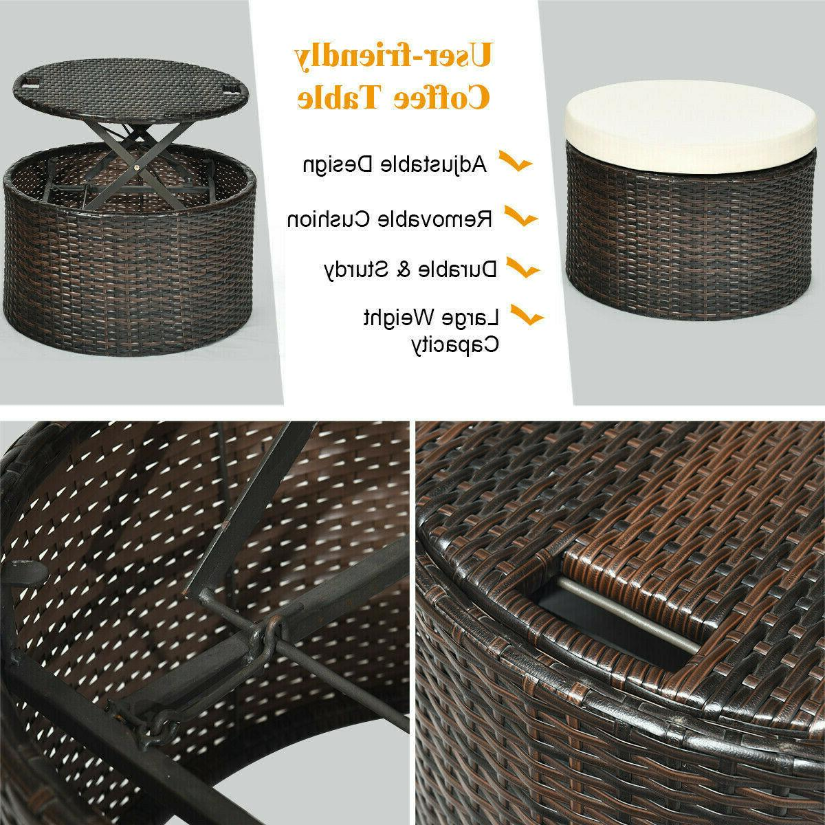 Patio Canopy Furniture Cushioned Beige