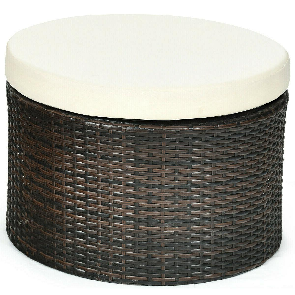 Patio Rattan Retractable Canopy Cushioned Beige