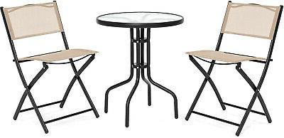 Patio Dining Furniture Set w/Round Textured Top, 2 Chairs