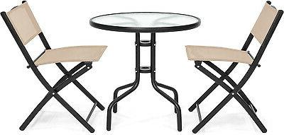 Patio Dining Furniture w/Round Top, 2