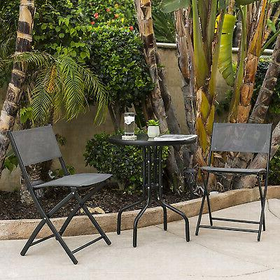 Patio Furniture Set w/Round Textured Glass Table Top,