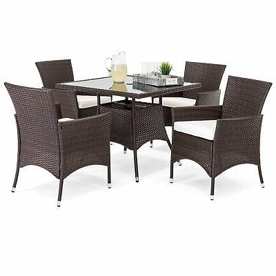 Patio Dining Set 5pc 4 Chairs Seat Glass Top Table Outdoor G