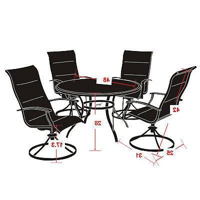 Patio Set Steel Woven 4 Chair Top