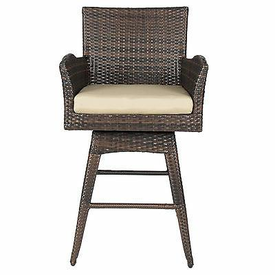 Outdoor Patio Furniture All-Weather Brown PE Wicker Bar