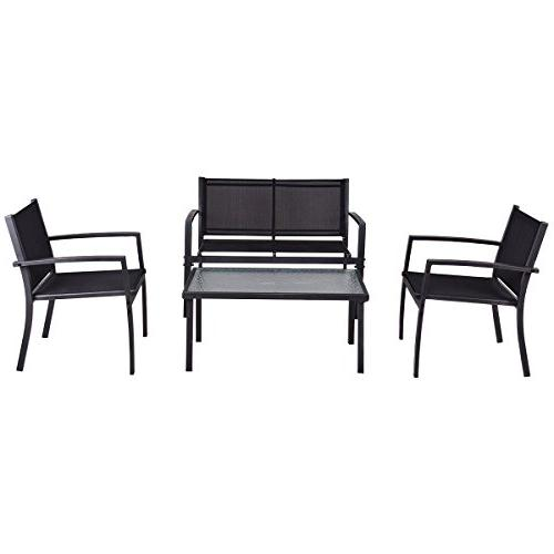 Tangkula Furniture 4 PCS Black 2 Tempered Coffee for Backyard Lawn Pool Balcony Sturdy Armrests for Relaxing Universal Modern Conversation Set