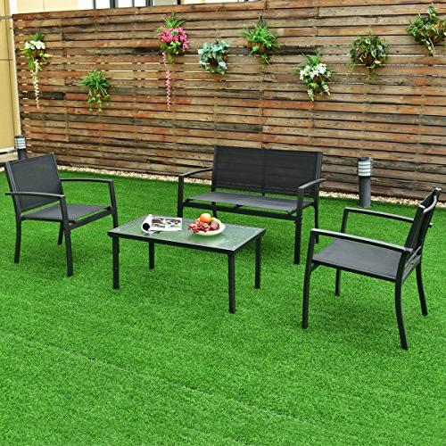 Tangkula Patio 4 2 Coffee & for Lawn Balcony Armrests Relaxing Universal Conversation
