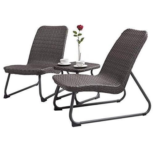 Tangkula Patio Furniture 3 All Outdoor Garden Wicker Chair &