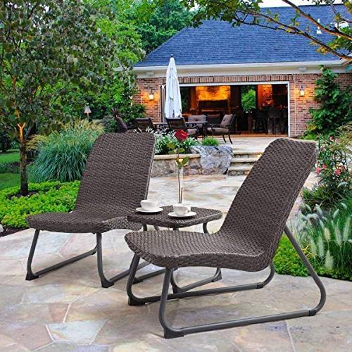 Tangkula 3 Outdoor Garden Wicker & Table