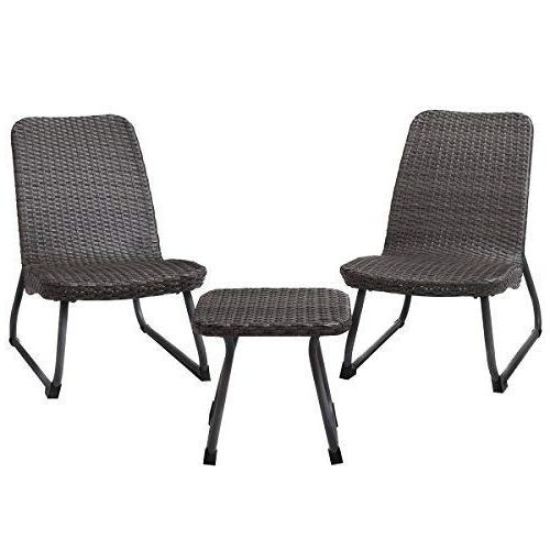 Tangkula 3 Piece All Outdoor Chair & Table