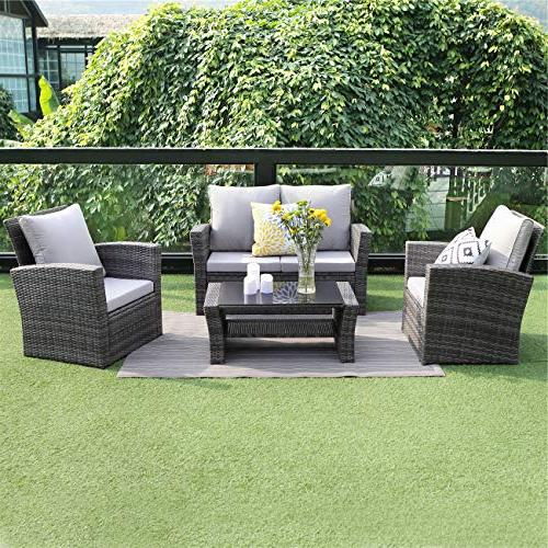 Wisteria Lane Piece Outdoor Wicker Ratten Sectional with Cushions,Gray