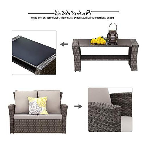 Wisteria Outdoor Patio Wicker Ratten Sectional with Seat Cushions,Gray