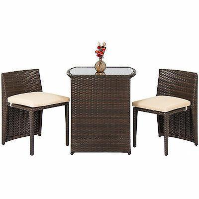 Best Patio Furniture Wicker 3pc Bistro Set Top Brown