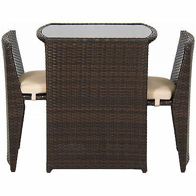 Best Products Patio Furniture Wicker Bistro W/ Glass Top Brown