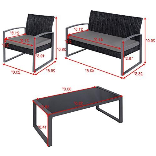 Tangkula Outdoor Patio Rattan Conversation Set Table Loveseat Single Sofas Set Furniture Lawn Poolside Outdoor