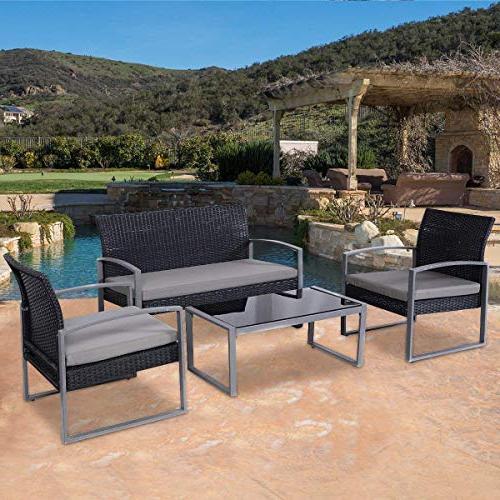 Tangkula Patio Furniture Rattan Conversation Set Coffee Sofas Lawn Garden Poolside Outdoor Furniture