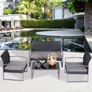 Tangkula 4 PCS Outdoor Patio Furniture Rattan Wicker Convers