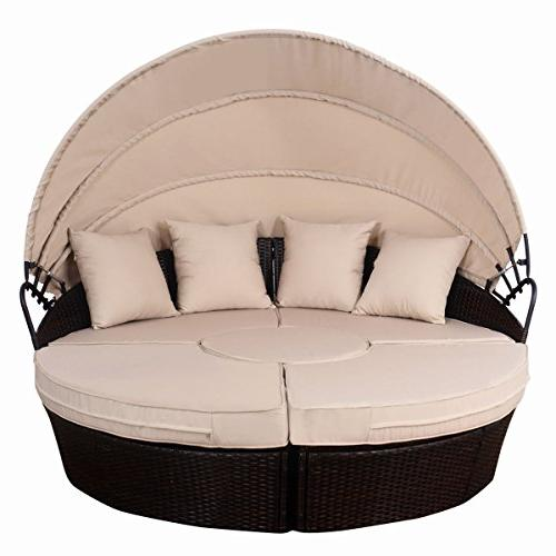 Tangkula Outdoor Lawn Round Wicker Rattan Round Daybed, Seating Cushioned