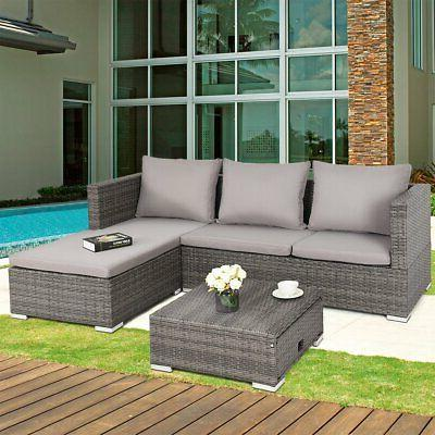 Patio Grey Wicker Lounge Sectional Sofa Furniture Cushioned