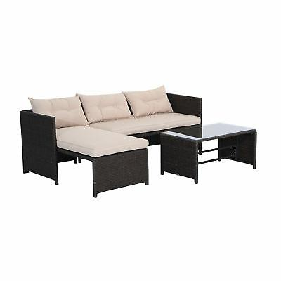 3PC Rattan Sofa Set Cushined Couch Furniture Outdoor