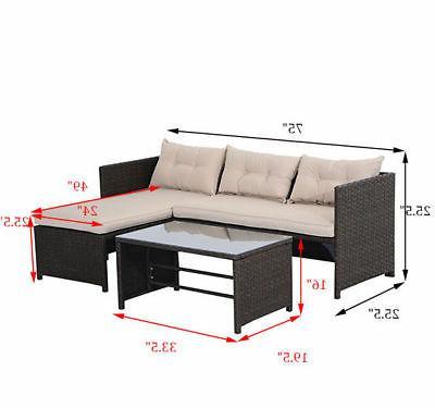 3PC Patio Sofa Cushined Furniture