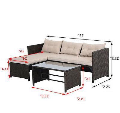 3PC Rattan Wicker Sofa Furniture