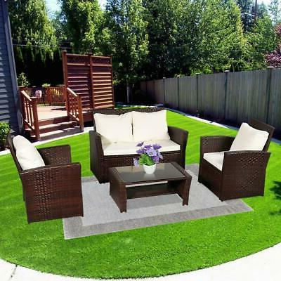 4pcs Rattan Wicker Patio Home Furniture Table Chairs Set Out