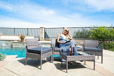 4PCS Outdoor Rattan Wicker Patio Set Garden Lawn Sofa +Chair