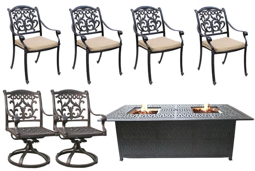 Propane Fire Pit Table Cast Patio Furniture Set