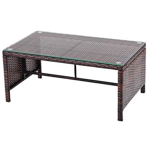 Tangkula 3 PCS Outdoor Rattan Lounge Chaise Cushioned Garden