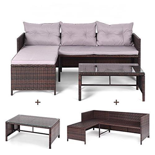 Tangkula 3 Rattan Lounge Chaise Garden