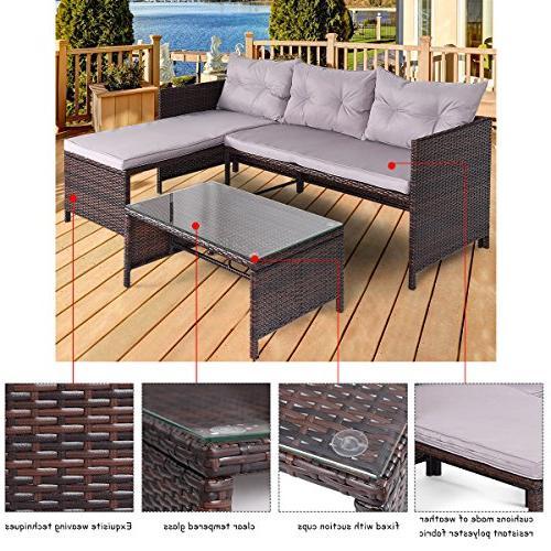 Tangkula 3 PCS Outdoor Rattan Sofa Lounge Garden