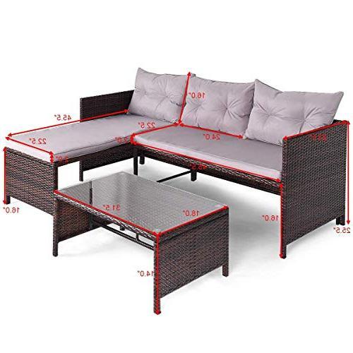 Tangkula PCS Rattan Sofa Set Lounge Chaise Patio Garden