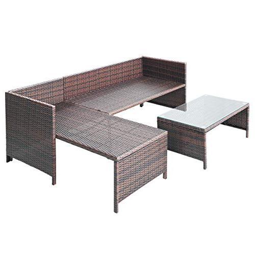 Tangkula 3 Outdoor Rattan Furniture Sofa Lounge Chaise Garden