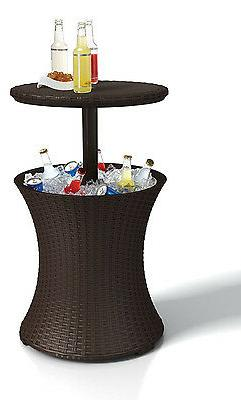 Rattan Outdoor Patio Deck Pool Cool Bar Ice Cooler Table Fur