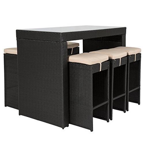 Best Choice Rattan Barstool Table Set Stool Black