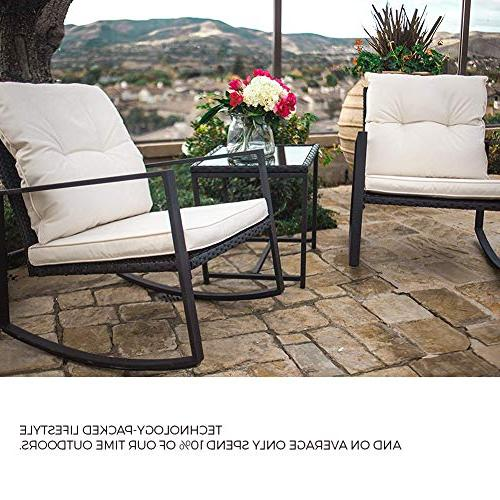 SUNCROWN Outdoor Bistro Black Furniture-Two Coffee