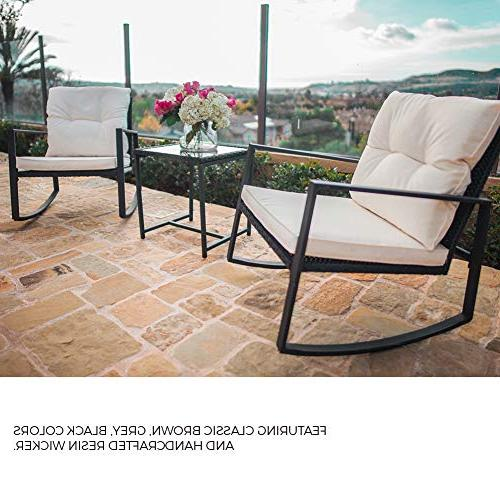SUNCROWN Outdoor Bistro Black Furniture-Two with Coffee