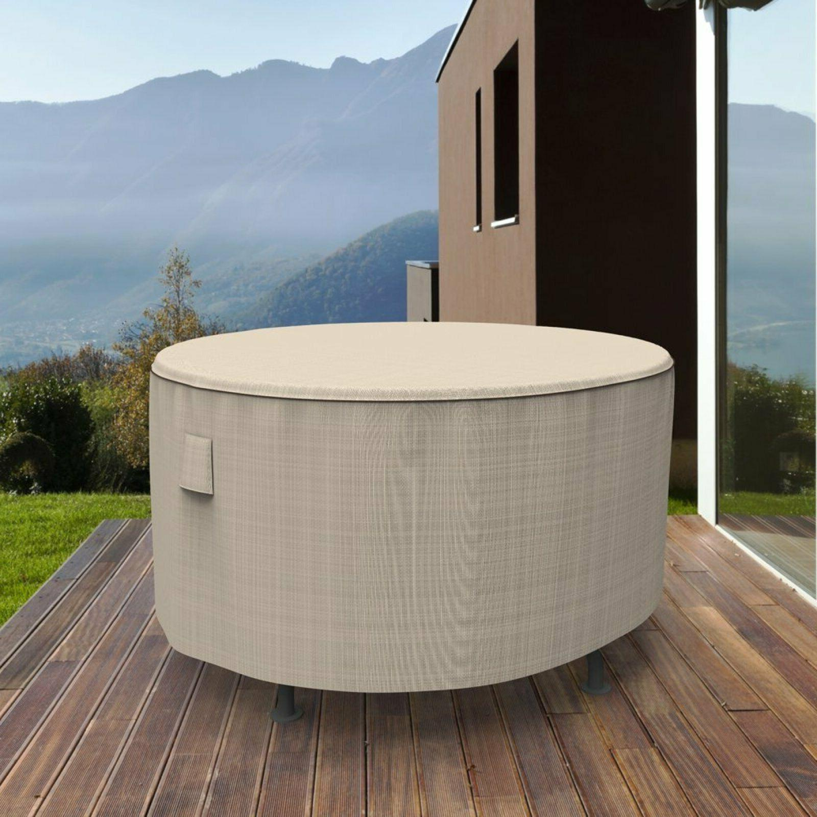 """ROUND PATIO TABLE COVER Tan Tweed 60"""" X 28"""" Waterproof Outdo"""
