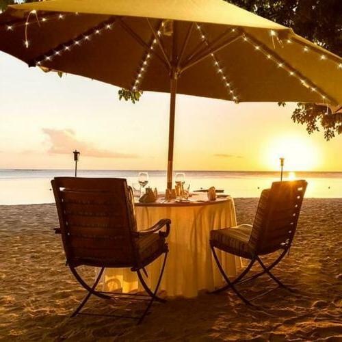Solar Garden Umbrella 8Strut 104LED Light Patio Outdoor Sun