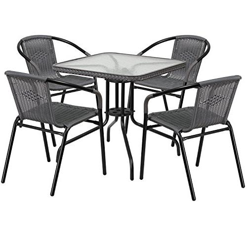 square glass metal table